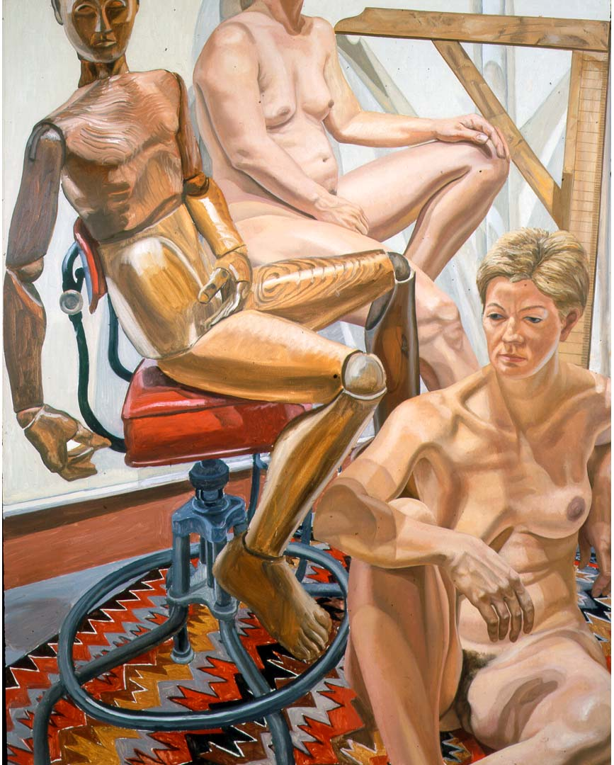 "1986 Two Models with Wooden Mannequin Oil on Canvas 60"" x 48"""