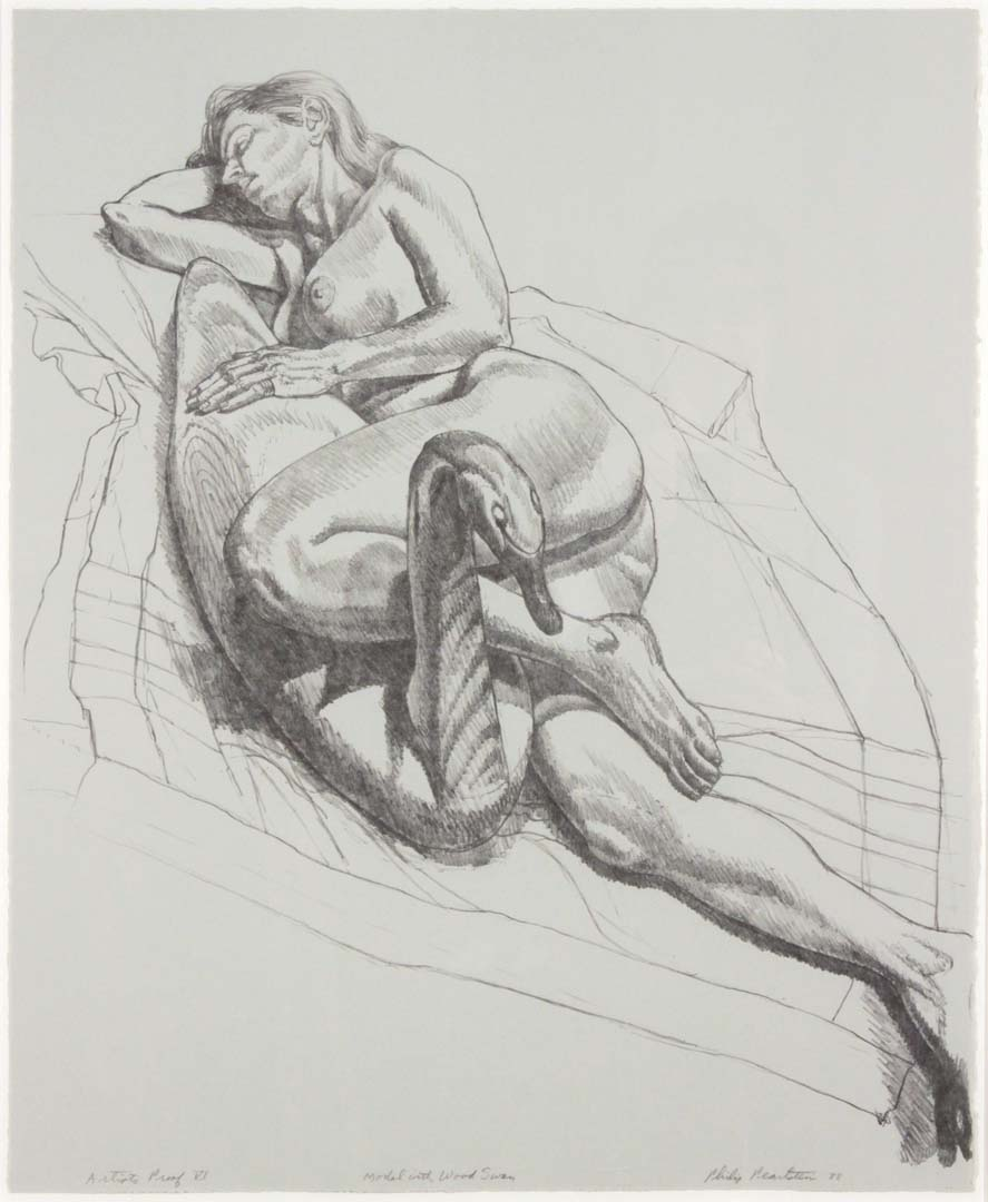 "1987-88 Model with Wooden Swan (B&W) Lithograph on Paper 50"" x 18"""