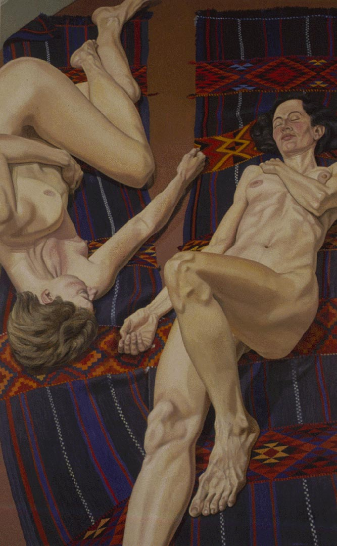 1987 Models with Bedouin Rug Oil on Canvas 96 x 60