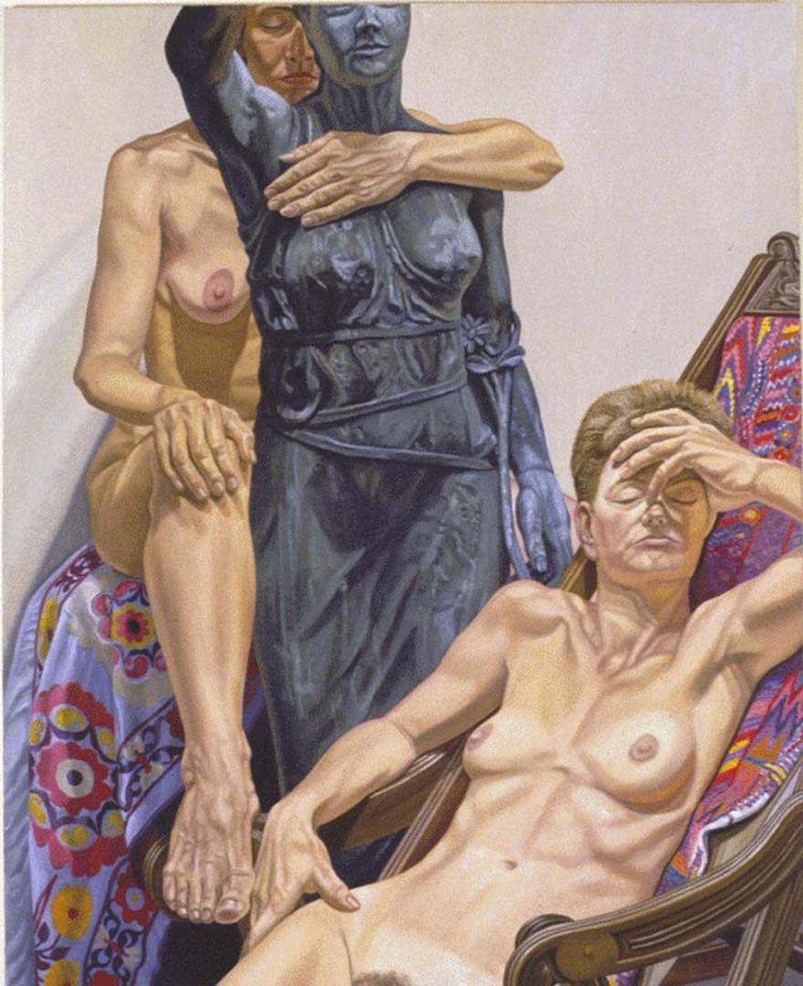 """1987 Models with Garden Figure Oil on Canvas 60"""" x 48"""""""