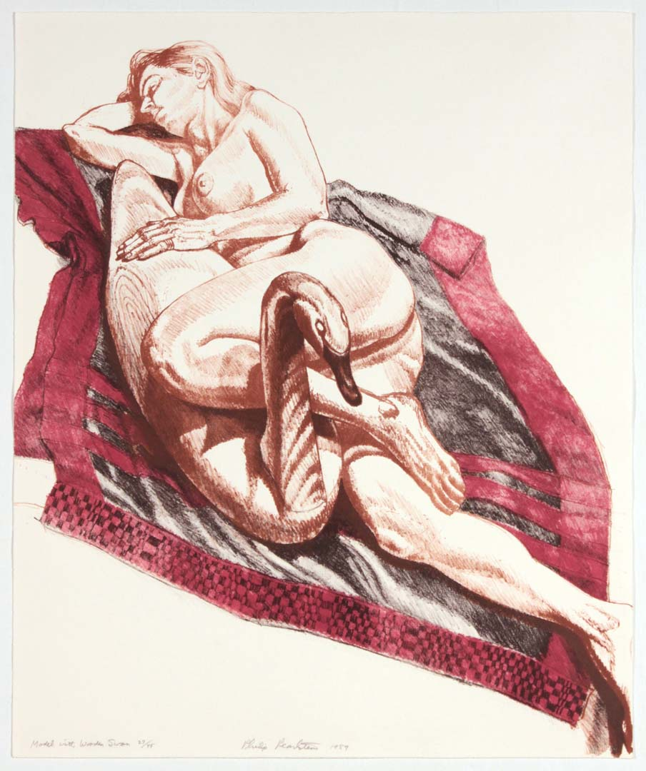 "1989 Model With Wooden Swan Lithograph on Paper 21.5"" x 18"""