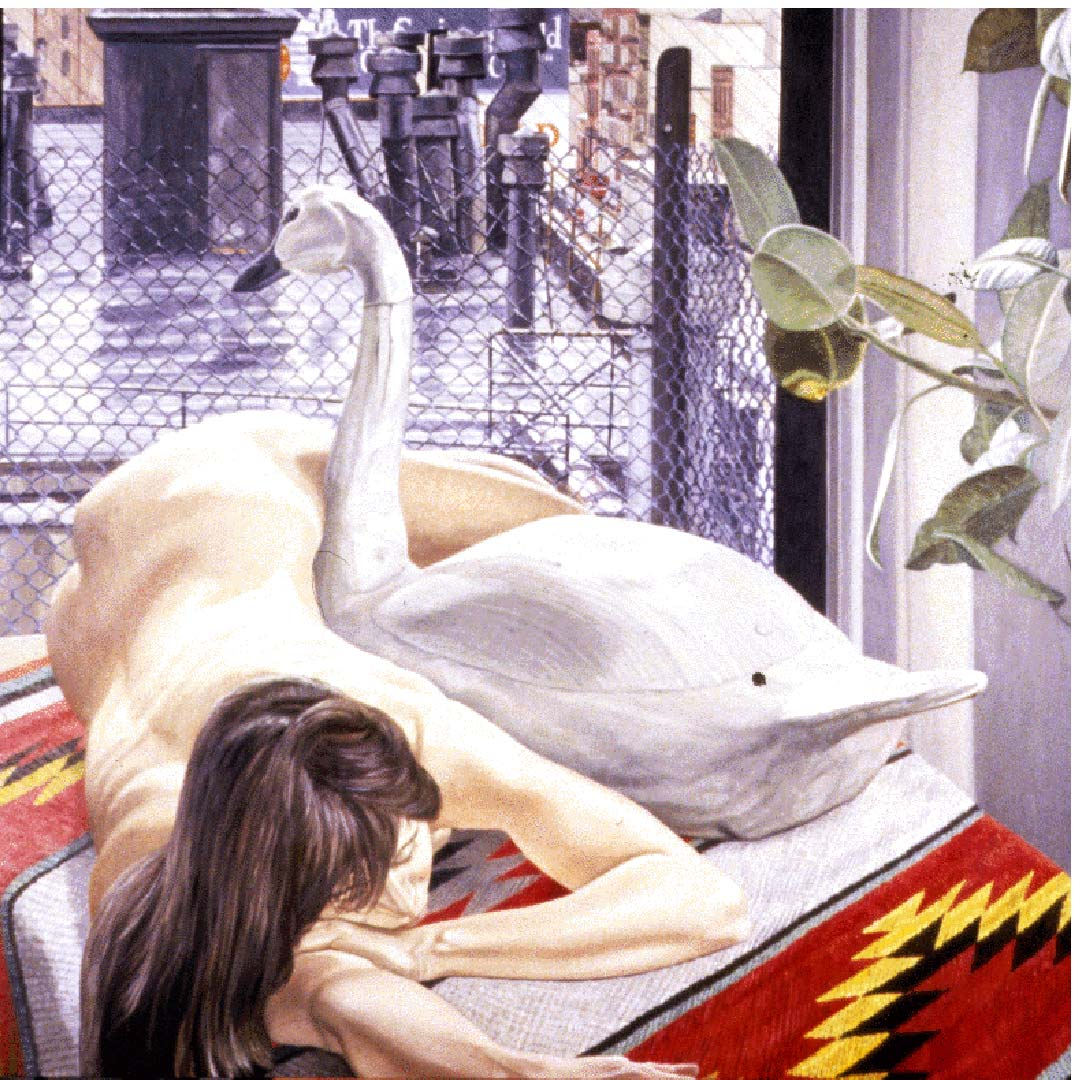 "1989 Nude with Swan Decoy and Wet Rooftop Oil on Canvas 60"" x 60"""