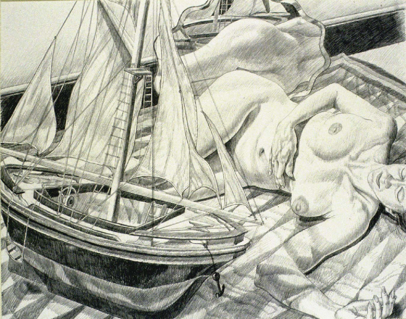 "1990 Model with Model Boat Pencil 23.125"" x 29"""