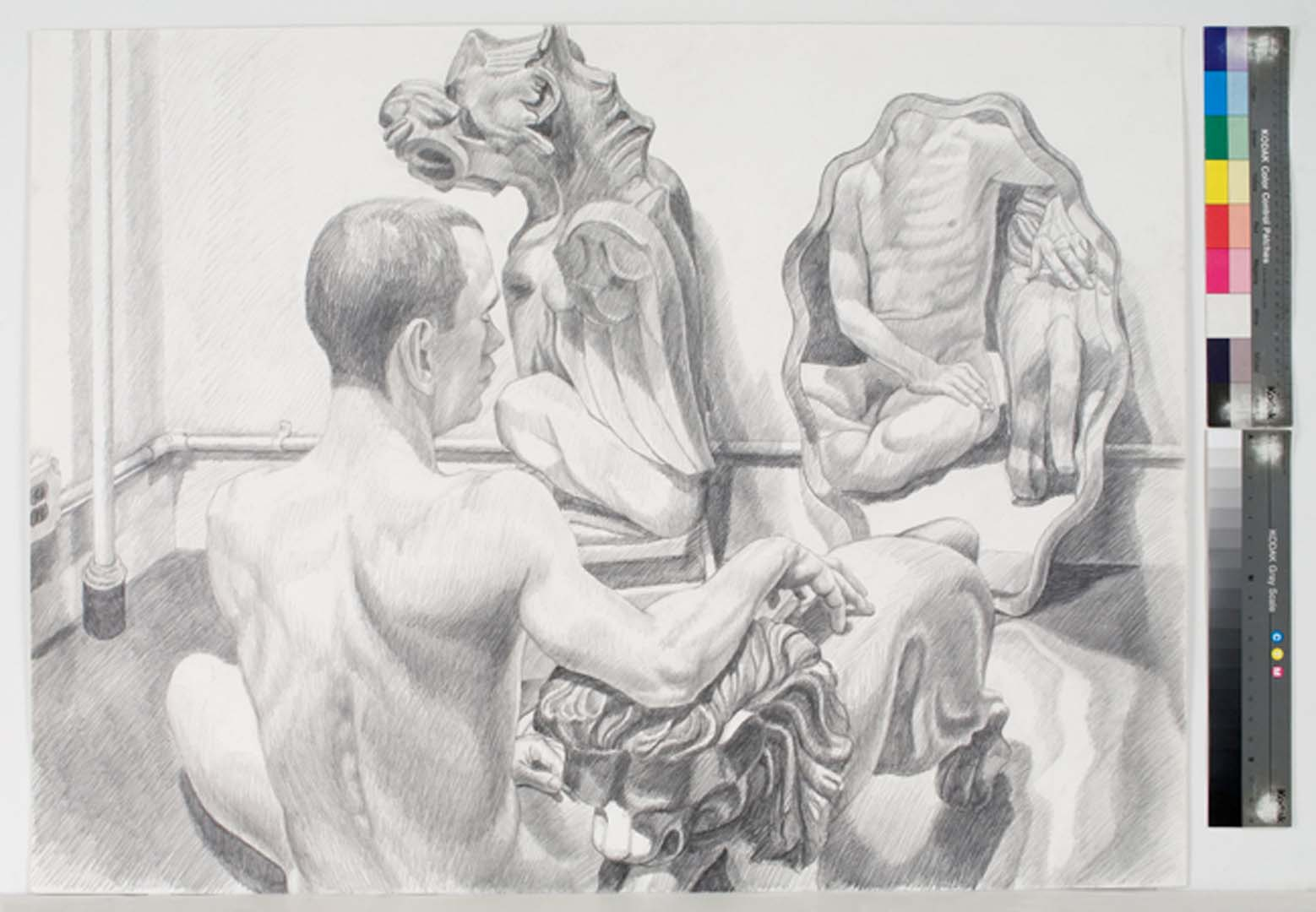 1990's - Model with Gargoyle, Lion, and Mirror - Pencil - 30x40