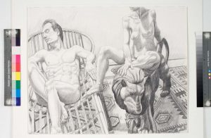 "1991 Seated Nudes with Bamboo Recliner and Lion Pencil 23"" x 29"""