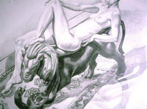 "1992 Female Reclining on Lion Pencil 30"" x 40"""