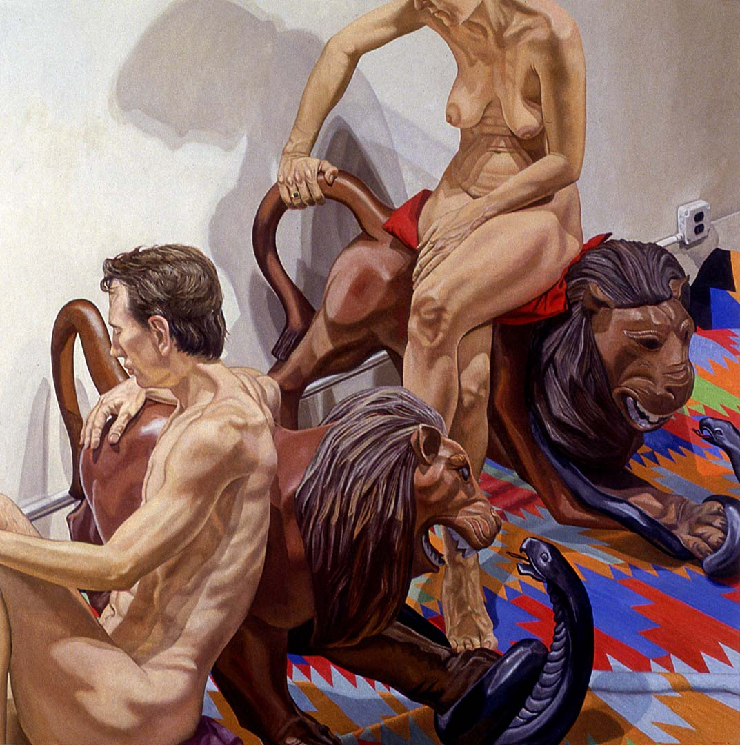 "1992 Models with Luna Park Lions Oil on Canvas 84"" x 84"""