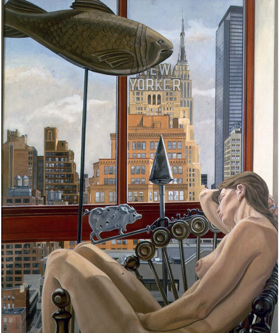 "1992 Model with Empire State Building Oil on Canvas 72"" x 60"""
