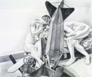 "1992 Study for Models with Dirigible Weathervane Pencil 30"" x 40"""