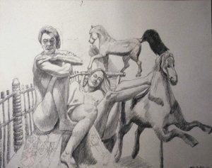 "1992 Two Models with Folk Art Horses Pencil 26"" x 30"""