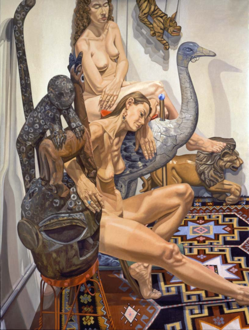 "1994 Two Models with Yoruba Mask & Carousel Ostrich Oil on Canvas 96"" x 72"""
