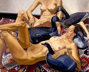 "1994 Two Nudes and Four Goose Decoys Oil on Canvas 60"" x 72"""