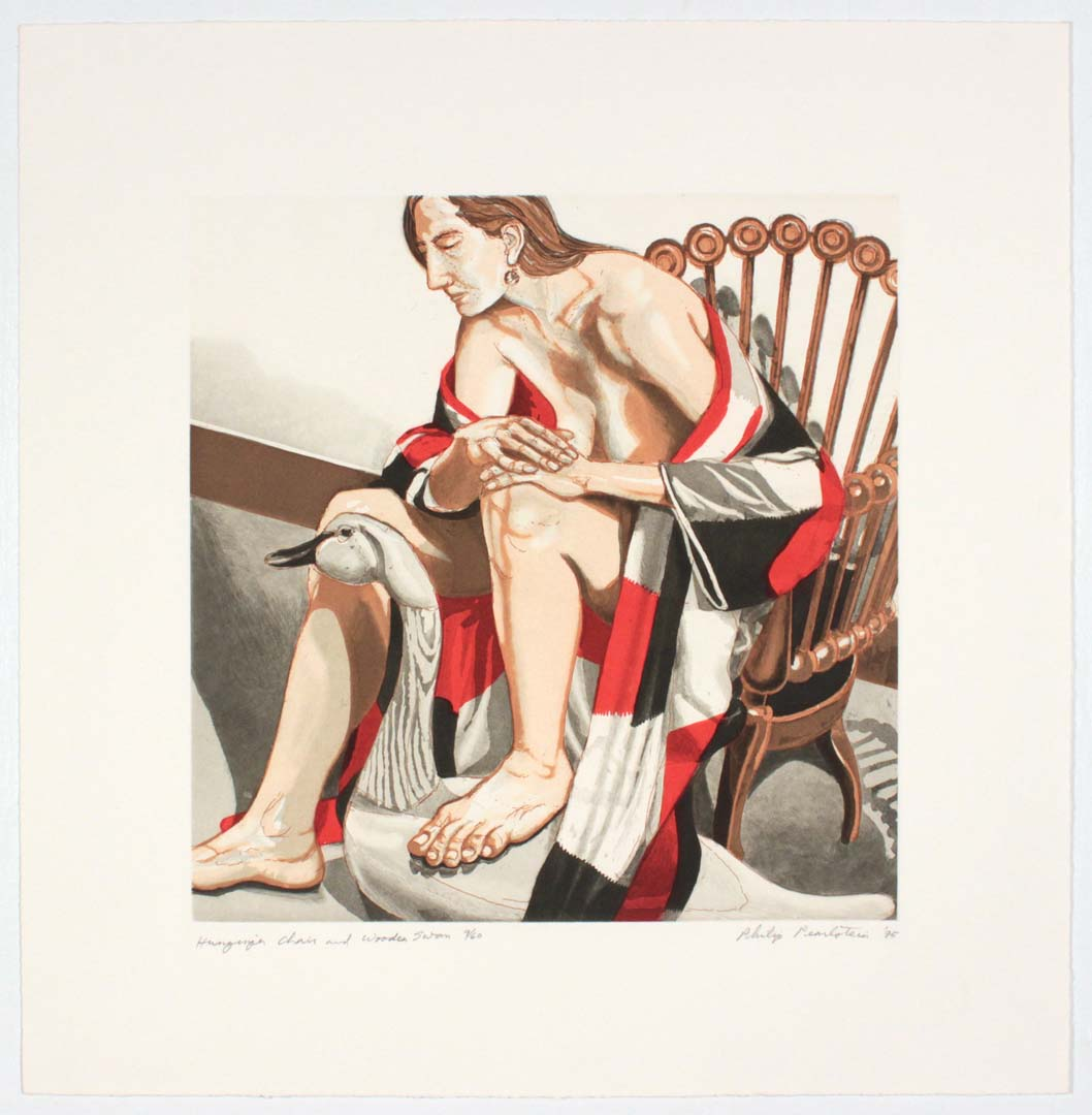 "1995 Hunzinger Chair & Wooden Swan Aquatint Etching on Paper 19"" x 19"""