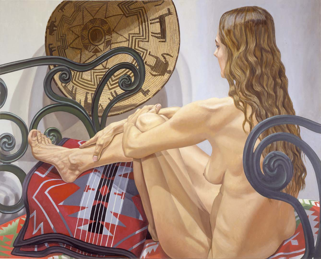 "1996 Nude with Navajo Basket and Cast Iron Bed Oil on Canvas 48"" x 60"""