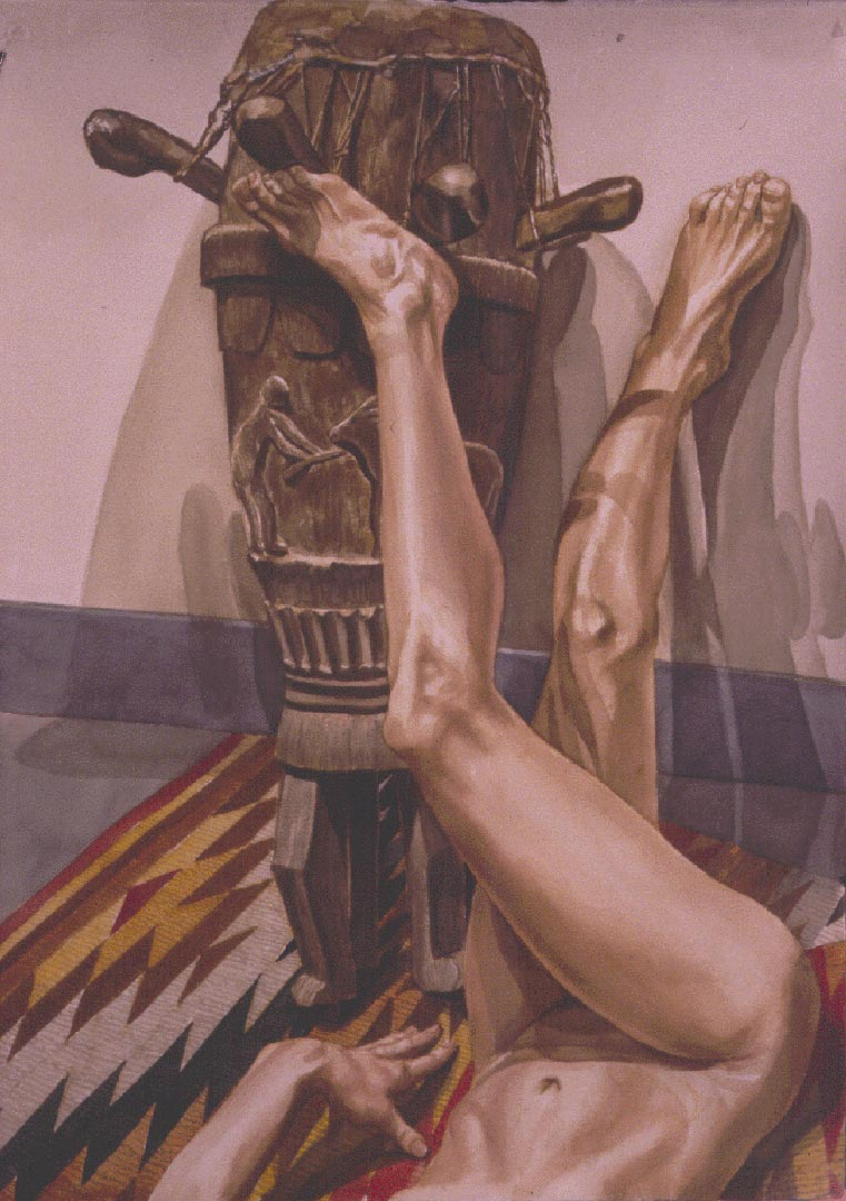"1997 Legs with African Drum Watercolor on Paper 41.5"" x 29.375"""