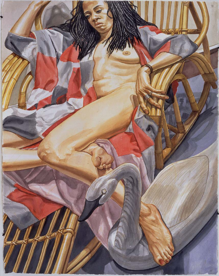 "1997 Nude on Bamboo Chaise with Swan Decoy Watercolor on Paper 60"" x 40.25"""