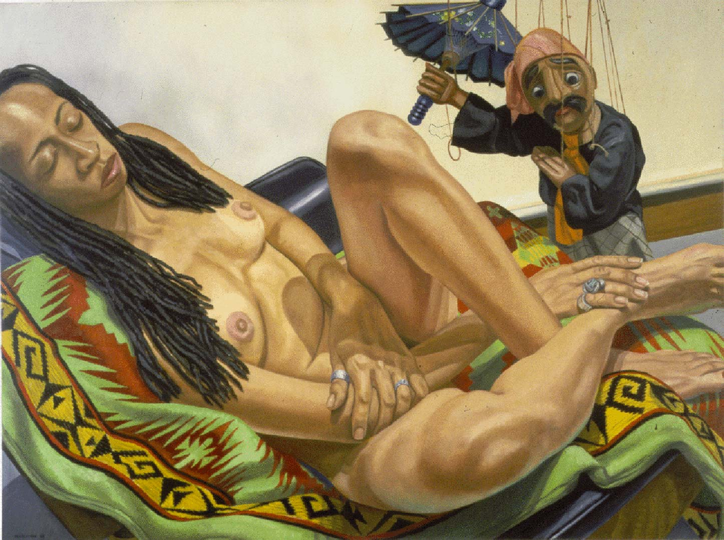 "1998 Model with Dreadlocks and Marionette with Umbrella Oil on Canvas 36"" x 48"""