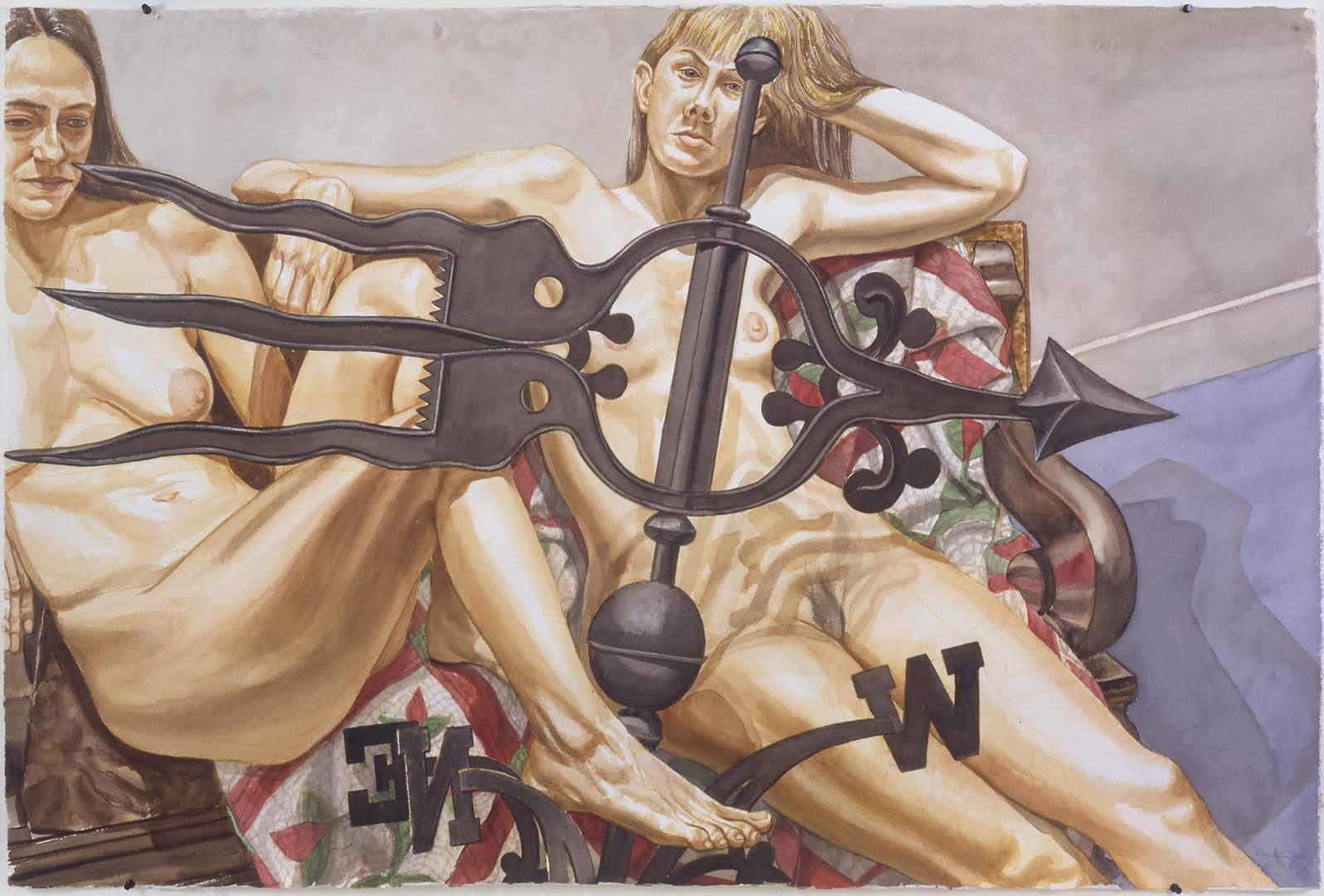 1998 Two Nudes with Banner Weather Vane Watercolor on Paper 40.5 x 60