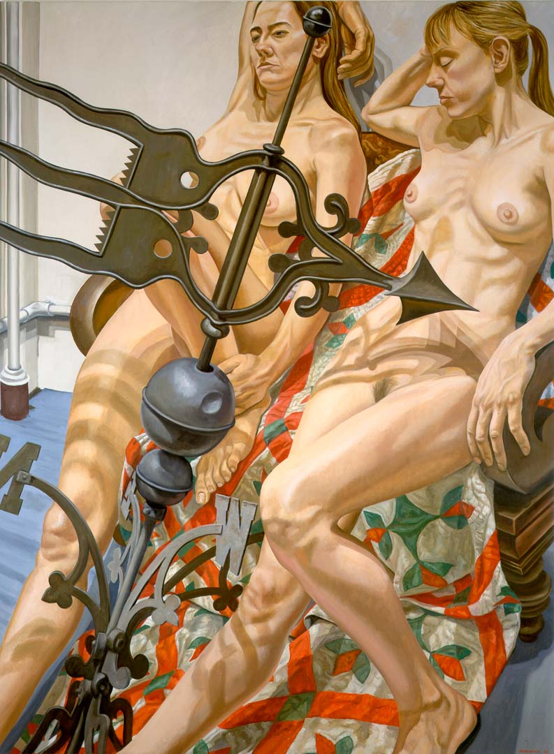 1998 Two Nudes with Banner Weathervane Oil on Canvas 72 x 54