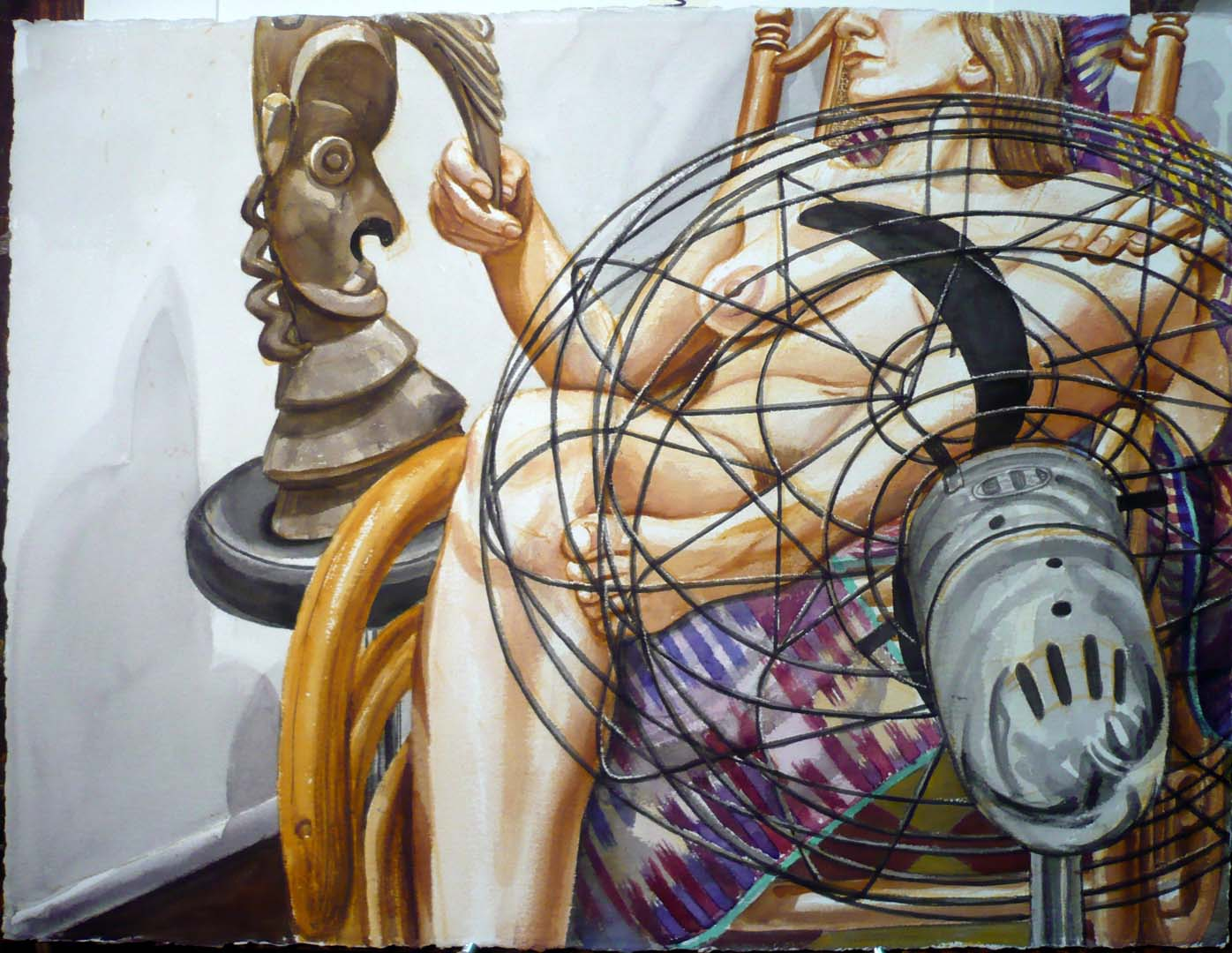 """1999 Model with Fan and Oceanic Sculpture Watercolor on Paper 22.5"""" x 30"""""""