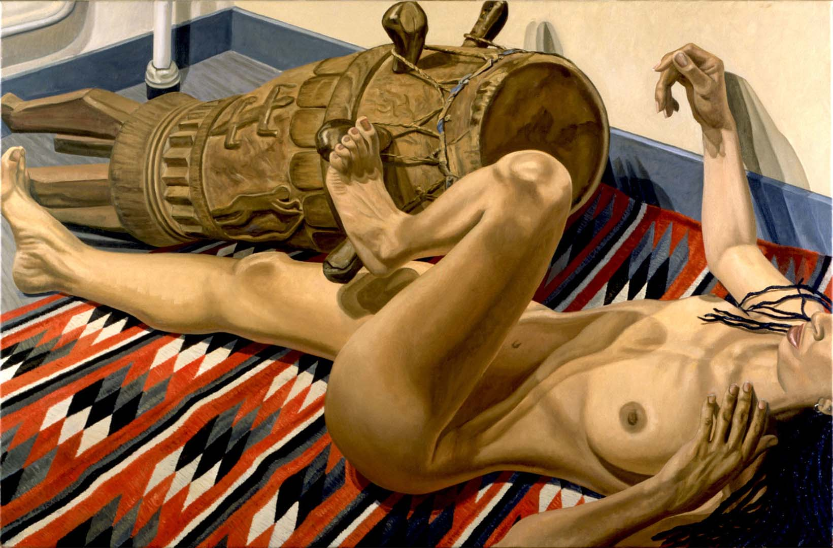 "1999 Reclining Nude with African Drum Oil on Canvas 40"" x 60"""