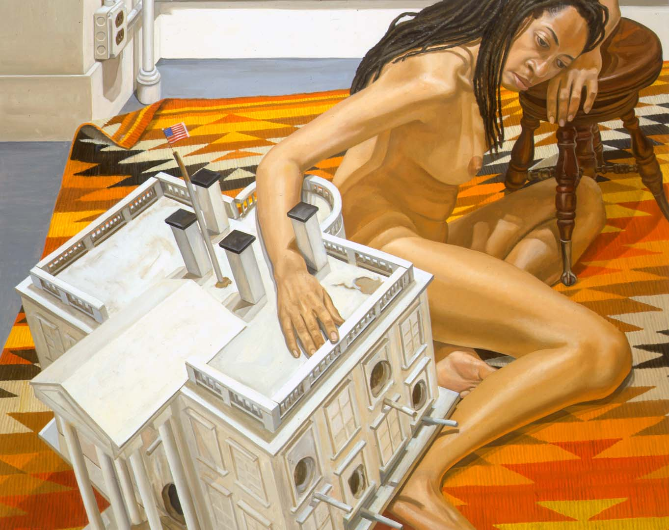 "2000 Model with Dreadlocks and White House as Birdhouse Oil on Canvas 48"" x 60"""
