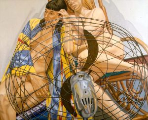 """2000 Two Models with Fan in Front Oil on Canvas 48"""" x 60"""""""