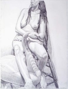 """2001 Model Sitting on Stool with Swan Pencil 30.5"""" x 23"""""""