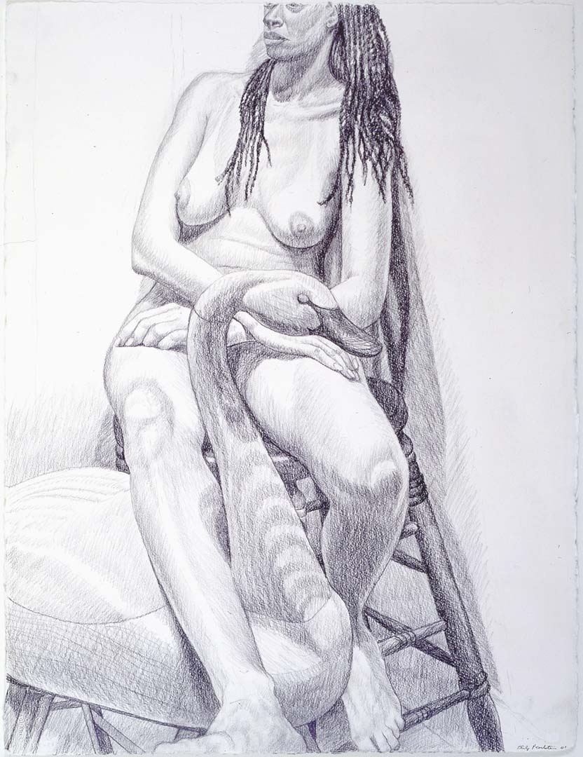 "2001 Model Sitting on Stool with Swan Pencil 30.5"" x 23"""