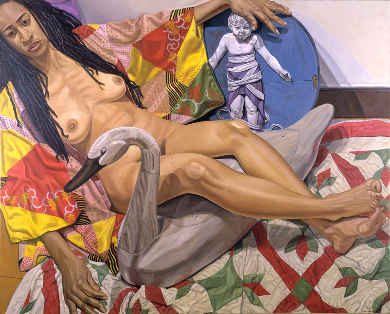 "2001 Model with Dreadlocks and Kimono with Swan and Renaissance Bambino Oil on Canvas 48"" x 60"""