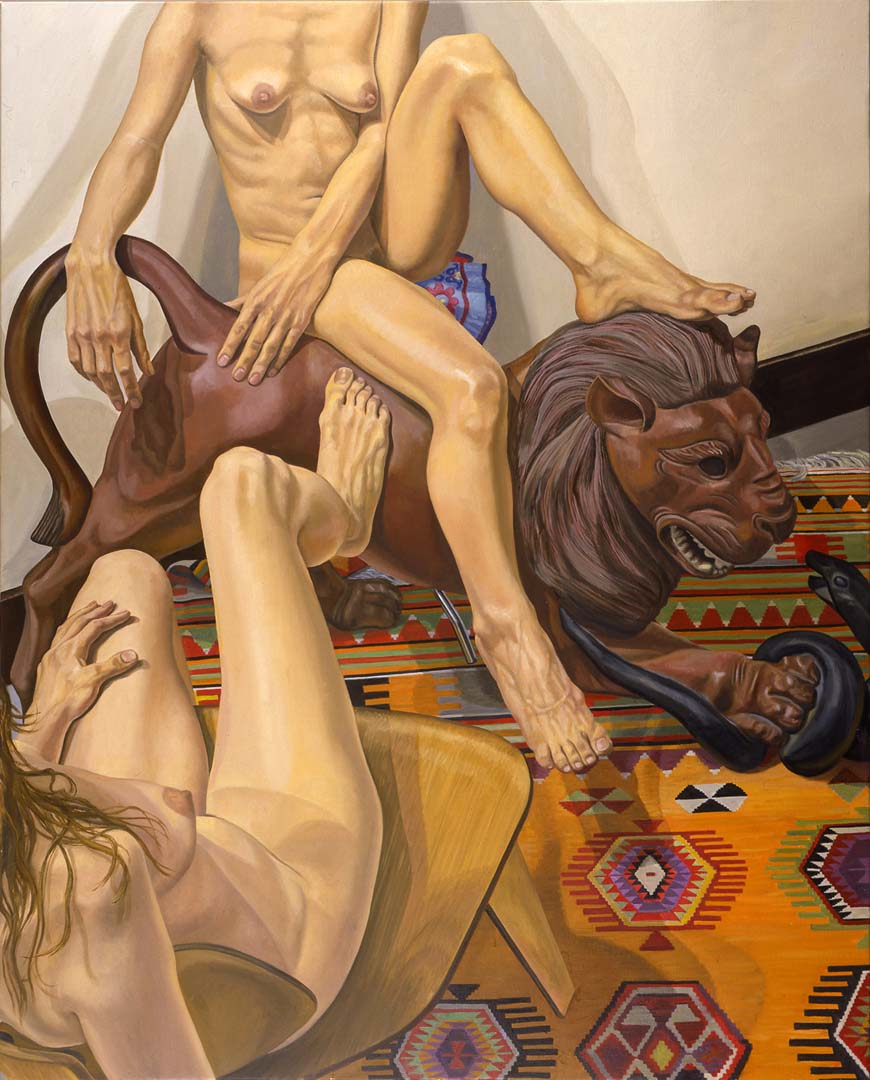 "2001 Two Models with Luna Park Lion Oil on Canvas 60"" x 48"""