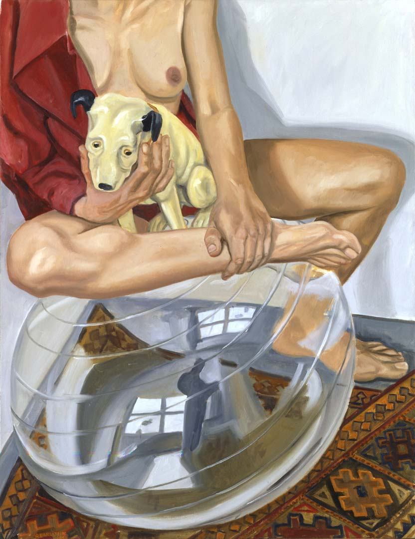 "2003 Model with His Master's Voice Dog and Exercise Ball Oil on Canvas 34.625"" x 26.625"""
