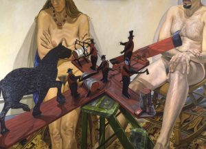 """2003 Two Models with Old Whirlygig - When the Wind Blows the Figures Work Oil on Canvas 60"""" x 48"""""""