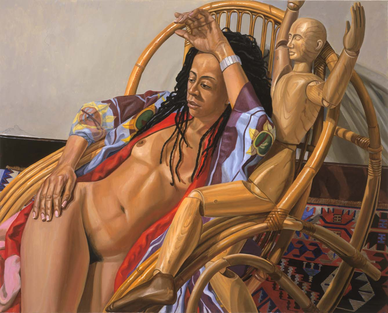 "2005 Model on Bamboo Lounge with Artist Mannequin Oil on Canvas 48"" x 60"""