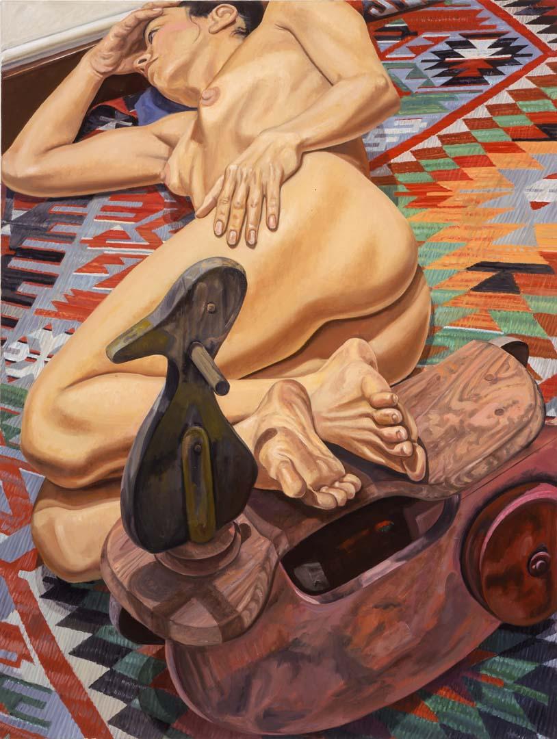 "2005 Model with Duck Kiddy Car on Killim Rug Oil on Canvas 48"" x 36"""