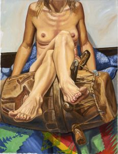 "2005 Model with Legs Crossed over African Drum Oil on Canvas 34"" x 26"""