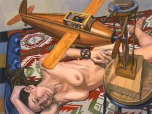 "2005 Model with Wooden Airplane Oil on Canvas 36"" x 48"""