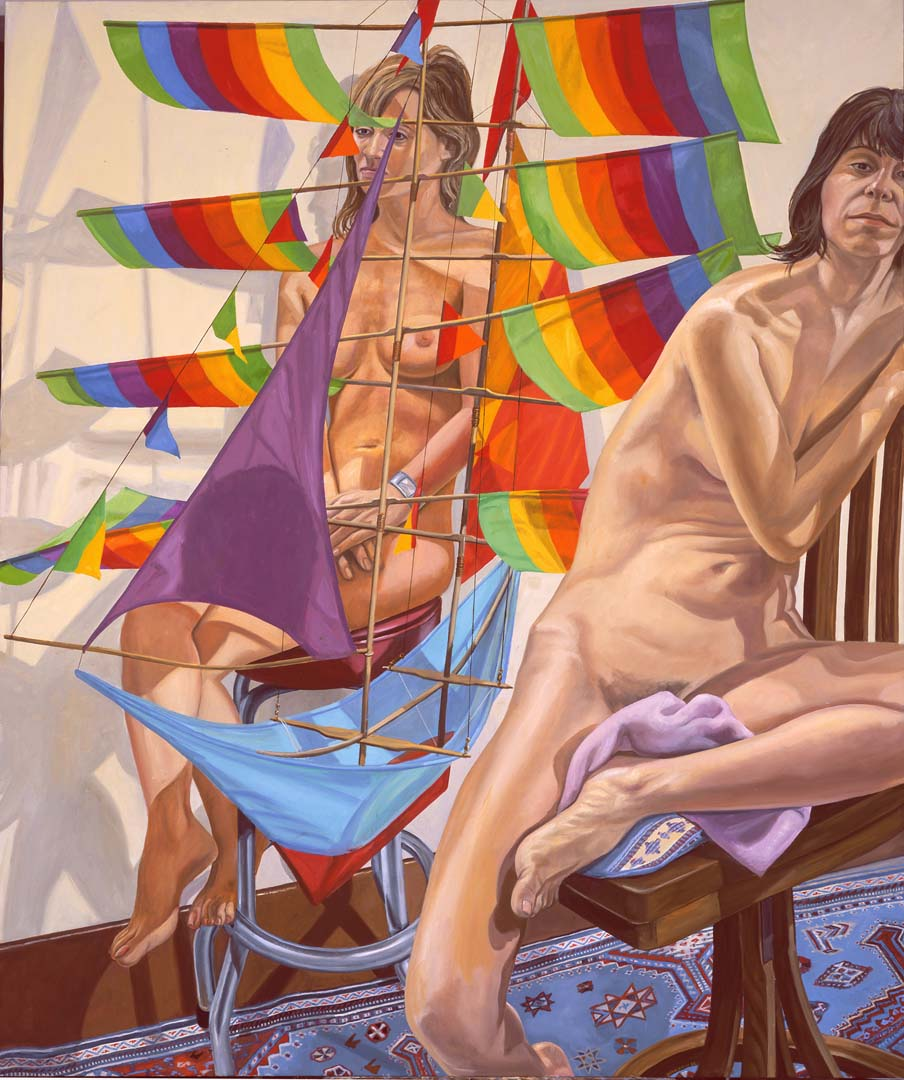 """2005 Two Models with Chinese Kite Oil on Canvas 72"""" x 60"""""""