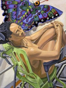 "2006 Model with Butterfly Kite Oil on Canvas 48"" x 36"""