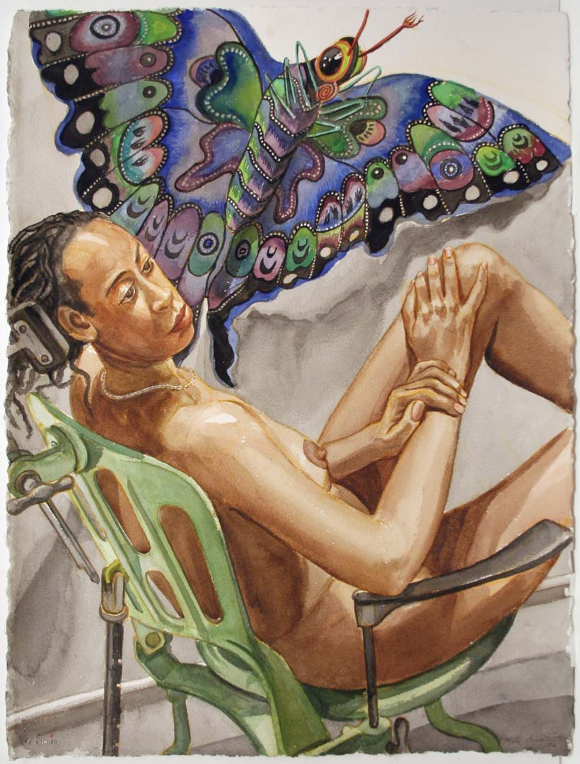 "2006 Study for Model with Butterfly Kite Watercolor on Paper 30"" x 22.5"""