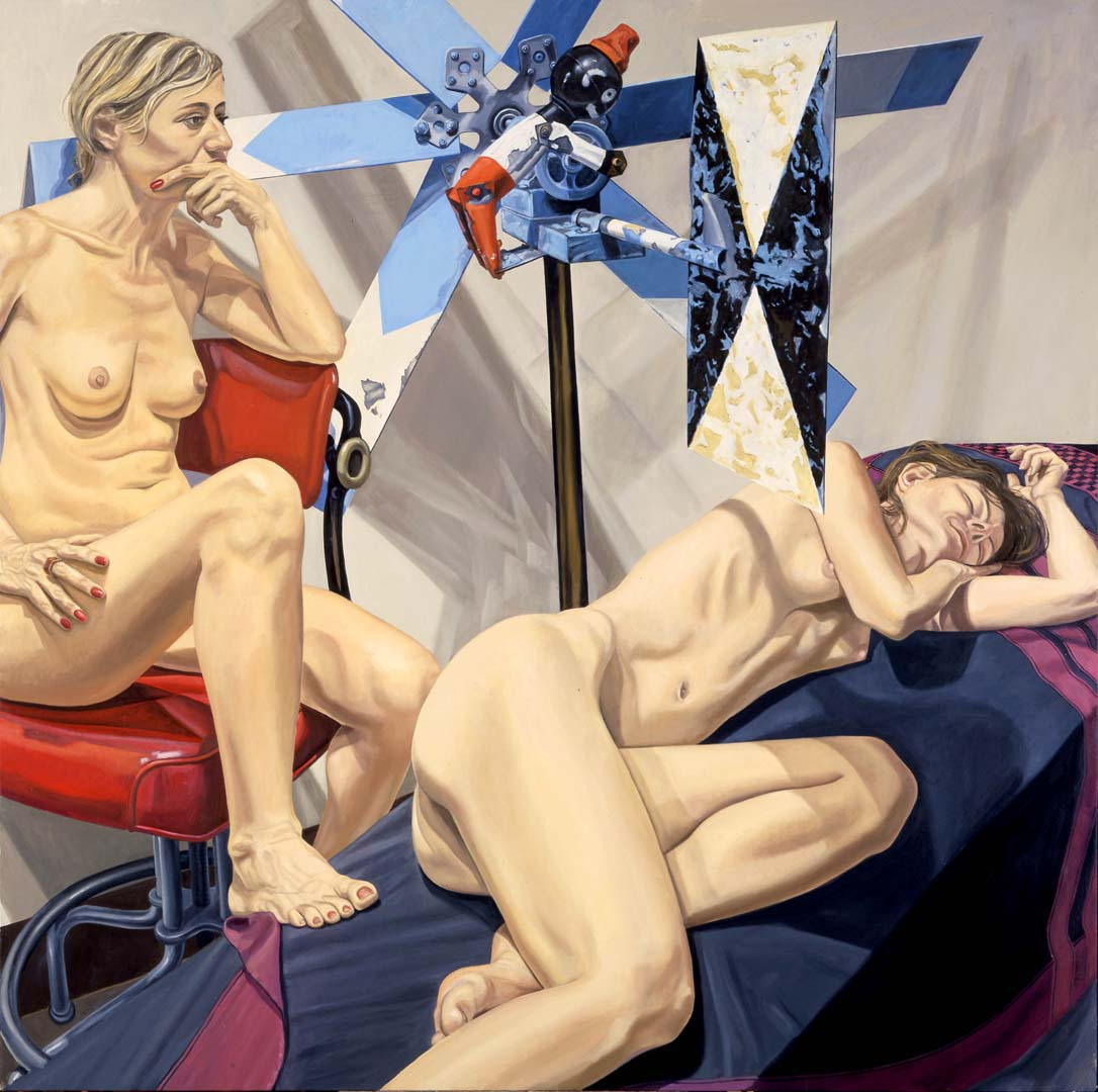 "2006 Two Models with Large Whirlygig Oil on Canvas 72"" x 72"""