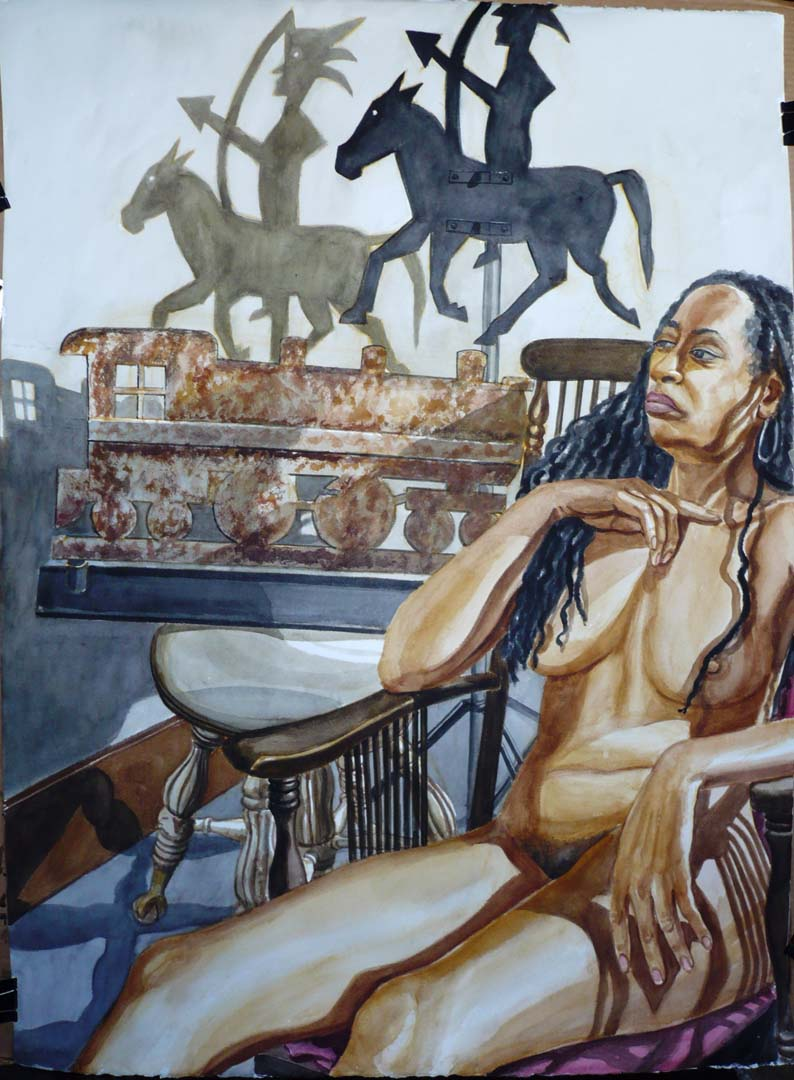 """2007 Model with Locomotive and American Indian Weathervanes Watercolor on Paper 46.5"""" x 34"""""""