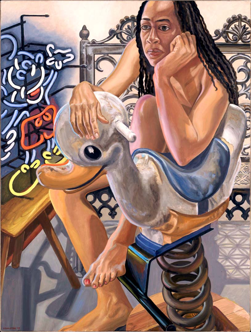 2007 Model with Neon Mickey and Bouncy Duck Oil on Canvas 48 x 36