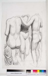 "2007 Three Graces at the Metropolitan Museum Pencil 27.75"" x 18"""