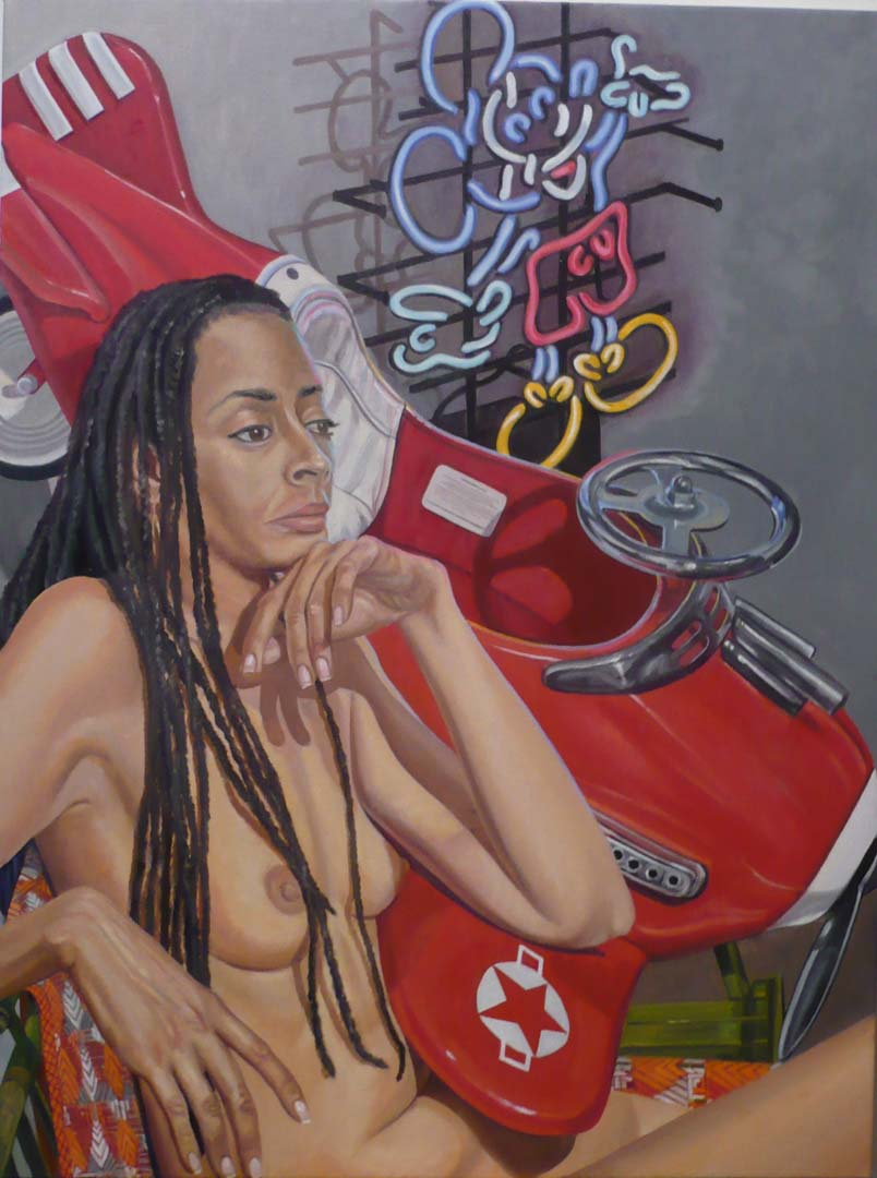 "2009 Model With Kiddie Car Airplane and Neon Mickey Oil on Canvas 24"" x 18"""