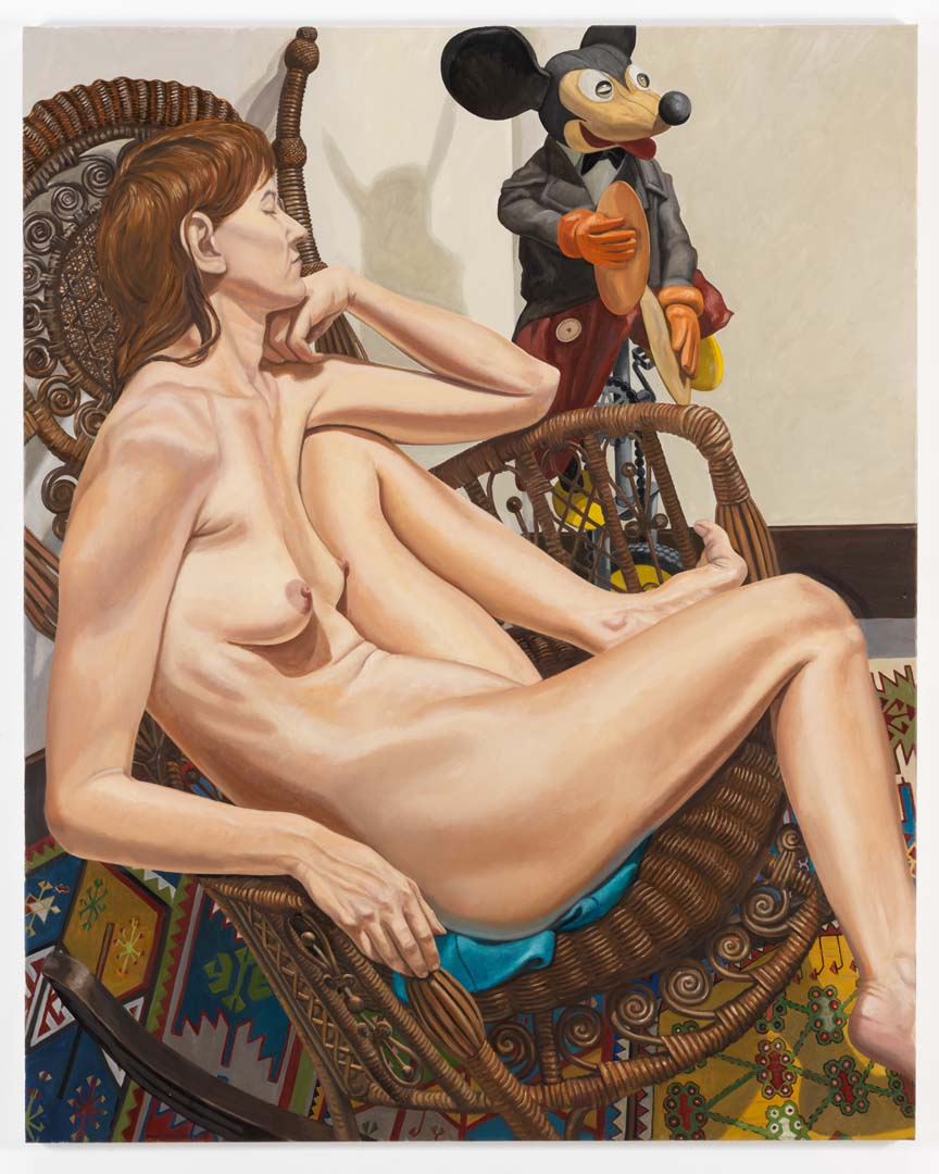 2009 Model With Mickey Mouse on Unicycle and Wicker Chair Oil on Canvas