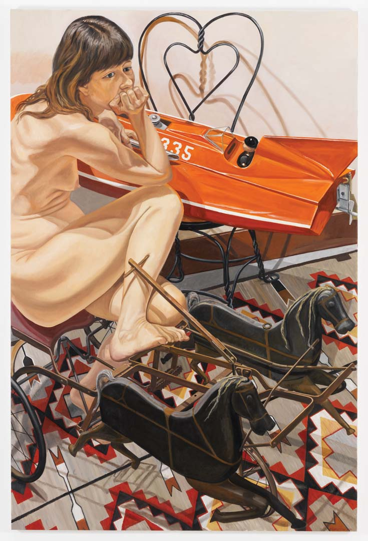 """2010 Model with Speedboat and Kiddie Car Harness Racer Oil on Canvas 72"""" x 48"""""""