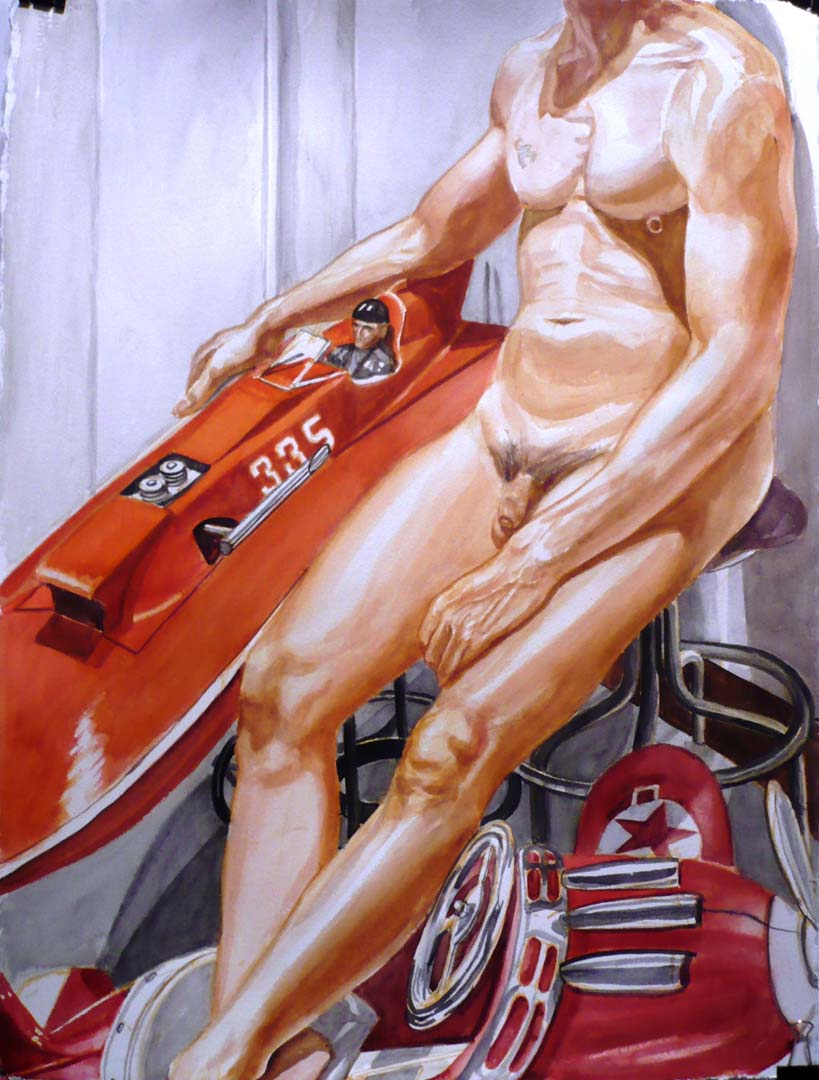 2010 Nude Male with Kiddie Car Airplane and Model Speedboat Watercolor on Paper 30 x 22.5