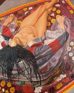"2011 Model with Kimono on Clear Plastic Chair and Floral Rug Oil on Canvas 60"" x 48"""