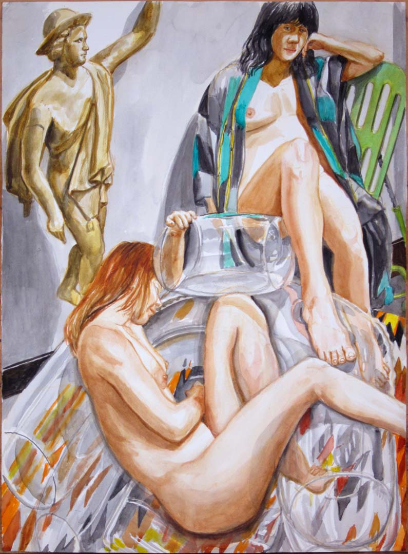 "2011 Two Models with Bubble Chair and Mercury Watercolor on Paper 29.875"" x 22"""